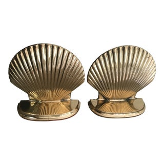 Vintage Solid Brass Shell Bookends - a Pair For Sale