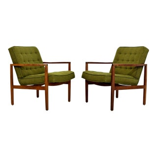 Mid Century Modern Pair of Rare Florence Knoll Angled Wood Armchairs 1960s