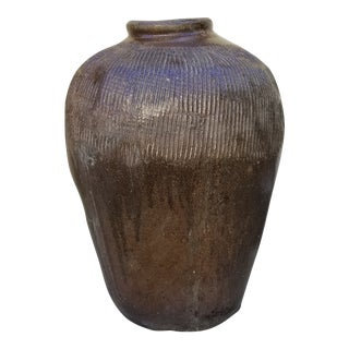 19th Century Chinese Stoneware Pickle Jar For Sale