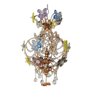 French Maison Bagues Style MultiColoured Crystal Prism Flowers Chandelier, 1900 For Sale