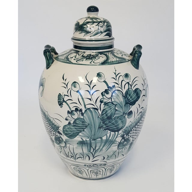 Large Hand Painted Porcelain Urn For Sale In Raleigh - Image 6 of 6