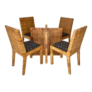 Vintage Woven Wrapped Cane Dining Set-4 Chairs and Table Base For Sale