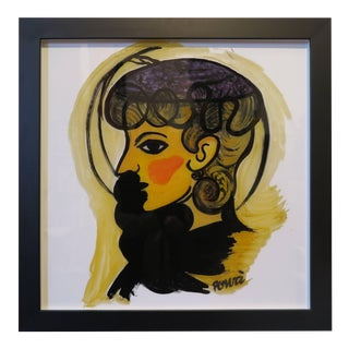 "Gio Ponti Painting ""Donna Con Cappellino"" For Sale"