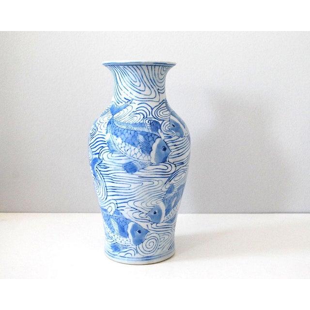 Vintage Chinese Blue And White Porcelain Fish Vase Chairish