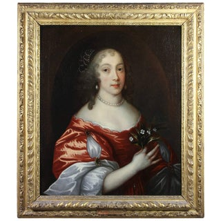 Framed Charles II Oil on Canvas of a Noblewoman For Sale