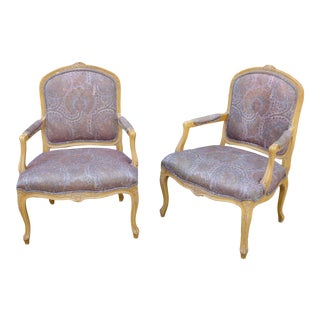 Vintage Louis XV Carved Wood Fauteuil Arm Chairs - a Pair For Sale