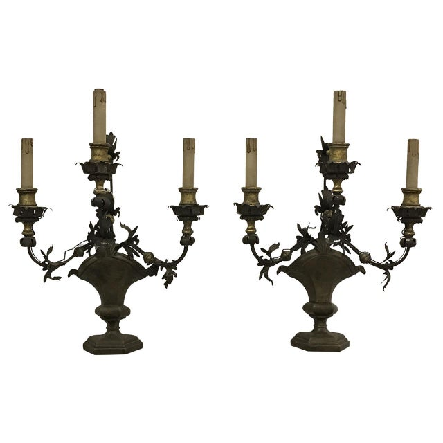 Italian Wrought Iron and Brass Sconces - a Pair - Image 4 of 4