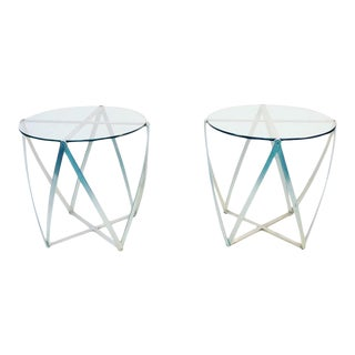 Pair of Amazing John Vesey Sculptural Aluminum and Glass Accent Tables For Sale