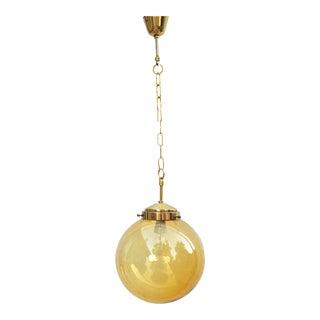 1970s Honey Glass Shade Chandelier on Chain by Zelaznoborske Sklo, Czechoslovakia For Sale