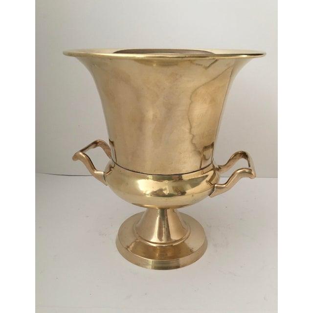 Metal Vintage Brass Urn Shape Champagne Bucket Wine Cooler For Sale - Image 7 of 12