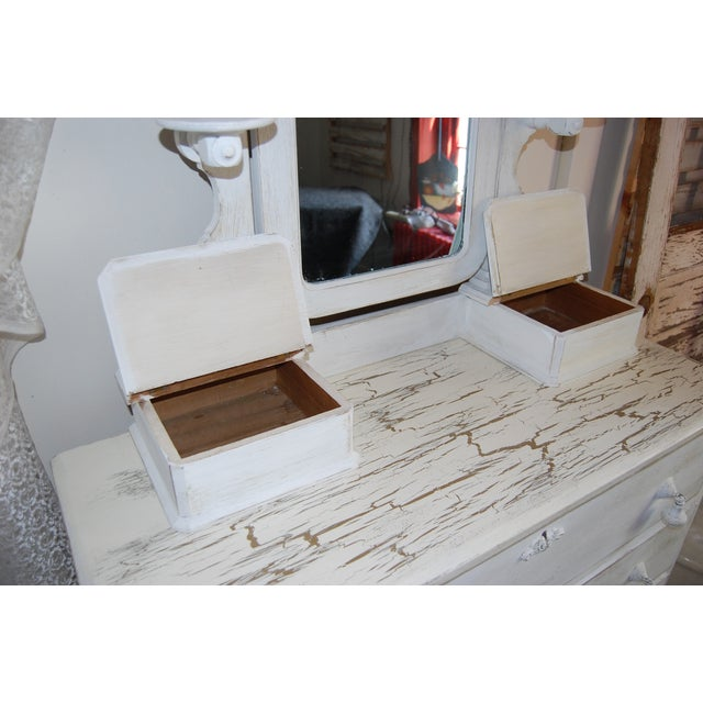 Vintage Shabby Chic White Dresser With Mirror - Image 5 of 11