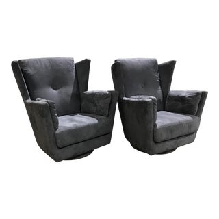Modern Wingback Lounge Chairs Kagan Style - A Pair