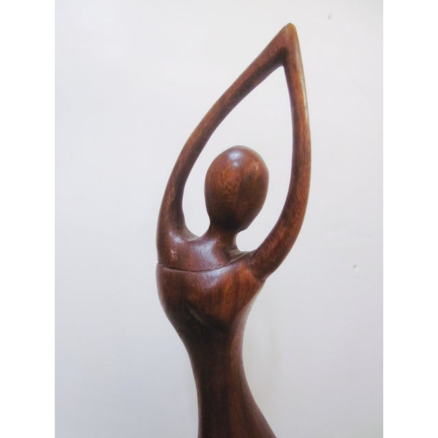 Vintage Modernist Carved Wood Woman Sculpture - Image 8 of 8