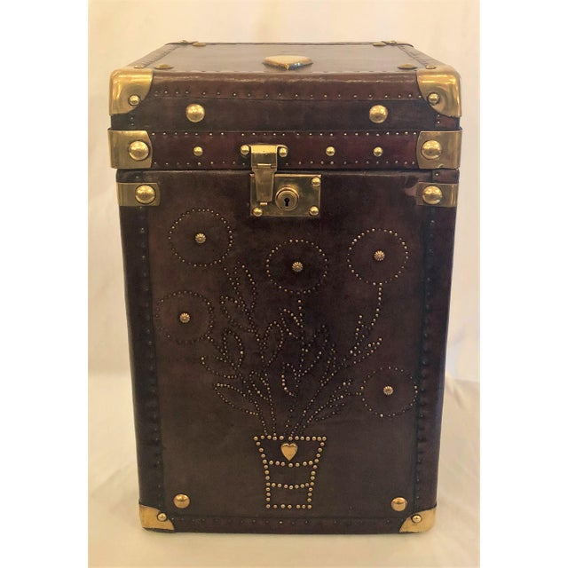 Antique English Leather Military Campaign Trunk / Luggage.