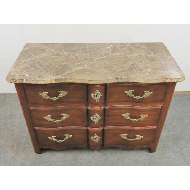 Hickory Chair Furniture Company Hickory Chair Co. Louis XV Style Marbletop Chest For Sale - Image 4 of 9