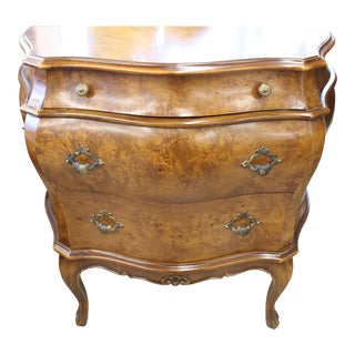 1970s Decorative Crafts, Inc. Italian Burled Wood Bombe Commode For Sale