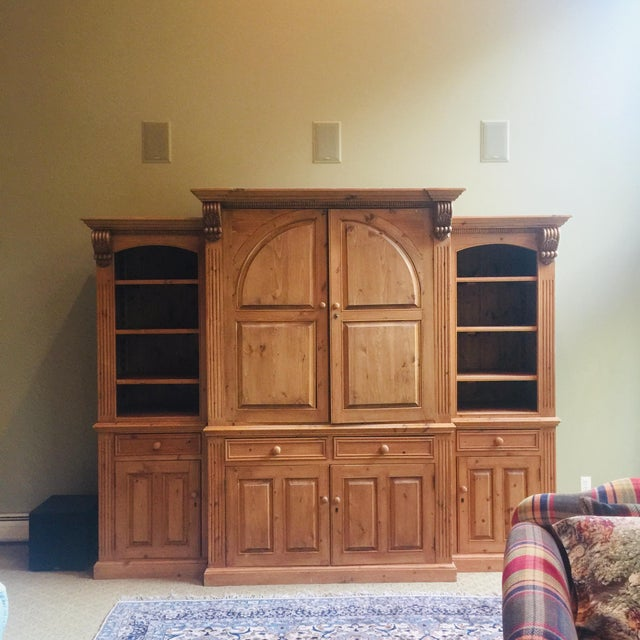 Rustic Vintage Hand Carved 3 Piece Pine Library Wall Unit For Sale - Image 3 of 6