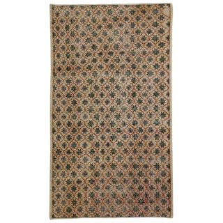 Industrial Art Deco Style Zeki Muren Distressed Vintage Turkish Sivas Rug - 4′ × 6′11″ For Sale