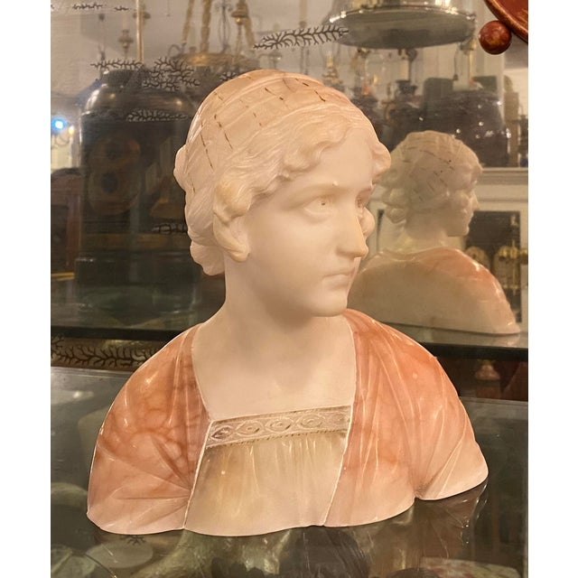 Art Nouveau Antique Carved Italian Pink Alabaster Bust of Mignon by Prof. Giuseppe Bessi For Sale - Image 3 of 6
