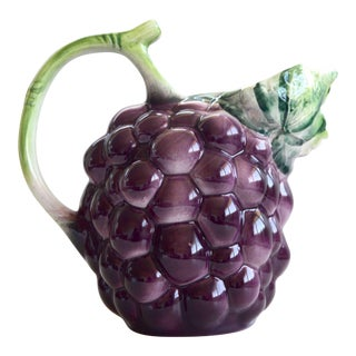 1960s Italian Hand Painted Ceramic Blackberry Pitcher For Sale