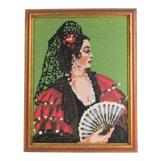 1950s Vintage Needlepoint Spaniard Woman With Fan Textile Art For Sale