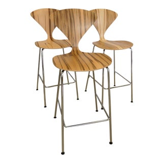 Modern Norman Cherner Natural Red Gum Wood Metal Leg Counter Stools - Set of 3 For Sale