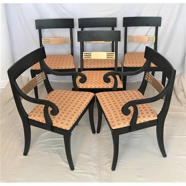 Wood 1940s Regency Klismos Parcel Gilt Dining Chairs - Set of 6 For Sale - Image 7 of 7