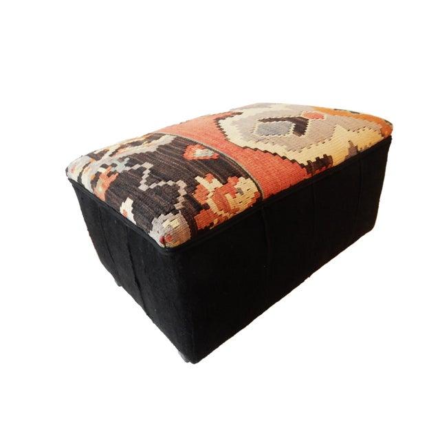 Tribal Kilim Rug & Mud Cloth Ottoman For Sale - Image 4 of 9