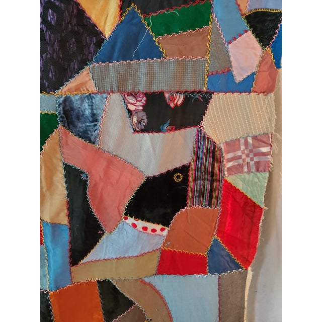 Early 20th Century Antique American Crazy Quilt, Patchwork of Geometric Colors For Sale - Image 5 of 11