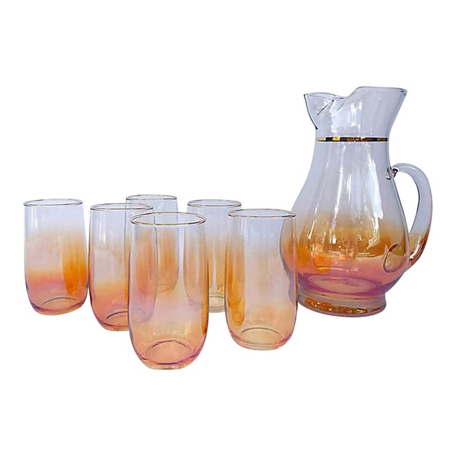 Iridescent Ombre Glasses with Pitcher - 7 Piece Set For Sale