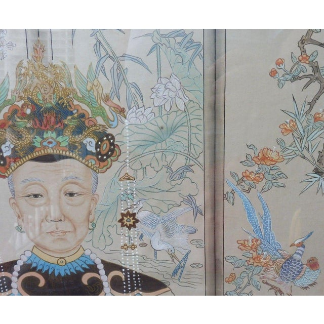 Paper Hand Painted Chinese Ancestor Portrait Paintings - a Pair For Sale - Image 7 of 13