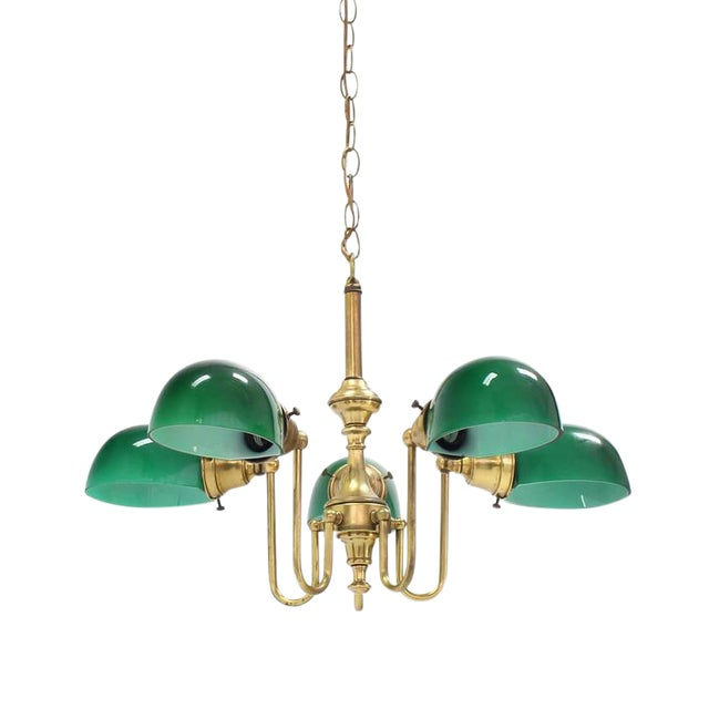 Emerald and Glass Brass Light Fixture For Sale