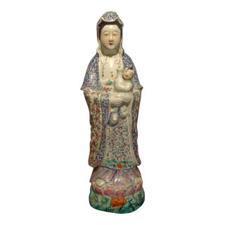 Late 19th or Early 20th Century Hand Decorated Chinese Porcelain Figure For Sale