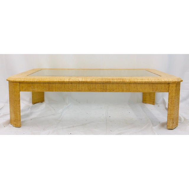 Boho Chic Vintage Grasscloth Wrapped Coffee Table For Sale - Image 3 of 10