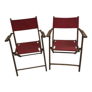 Vintage Wood Folding Chairs With Red Strapping - a Pair For Sale