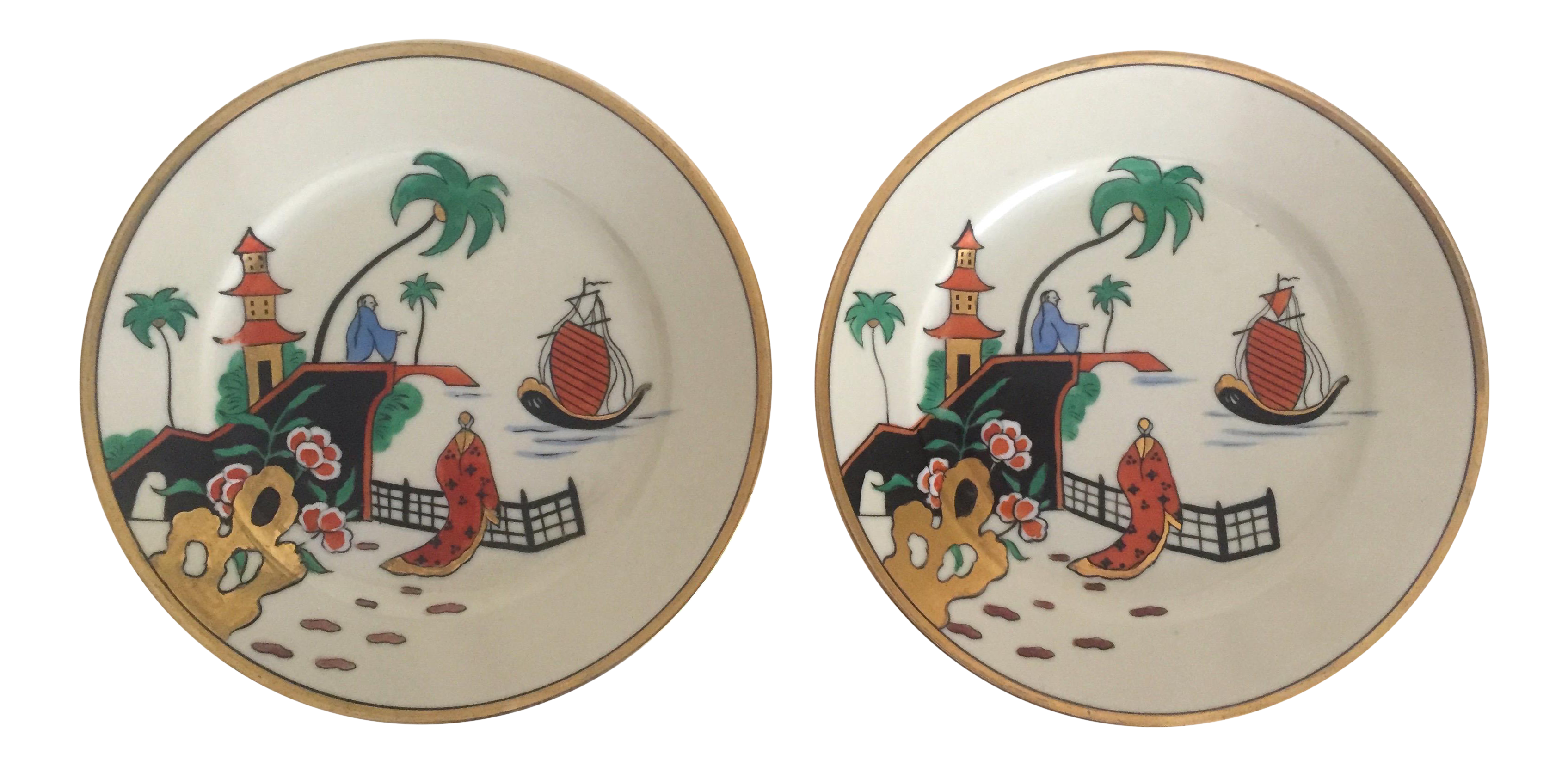 Vintage Noritake Japan Mid Century Modern Hand Painted Decorative Plates - a Pair - Image 1  sc 1 st  Chairish & Vintage Noritake Japan Mid Century Modern Hand Painted Decorative ...