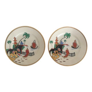 Vintage Noritake Japan Mid Century Modern Hand Painted Decorative Plates - a Pair
