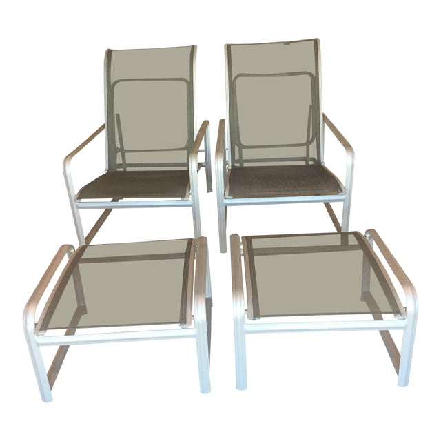 Modern Brown Jordan Outdoor Lounge Chairs 4 Pieces Chairish
