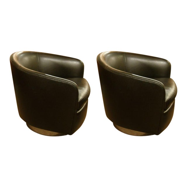 Milo Baughman Barrel Back Swivel Tilt Lounge Chairs - a Pair For Sale