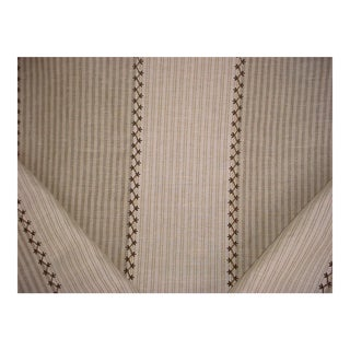 Ralph Lauren Carleigh Embroidered Ticking Upholstery Fabric - 8-5/8 Yards For Sale
