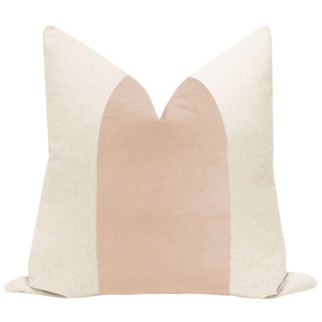 "22"" Pale Pink Velvet Panel & Linen Pillows - a Pair - Image 2 of 6"
