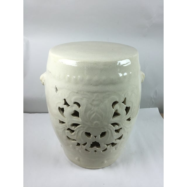 Asian Vintage White Pierced Asian Garden Seat Stool For Sale - Image 3 of 13