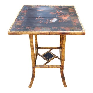 19th Century Art Nouveau Handpainted Bamboo Side Table