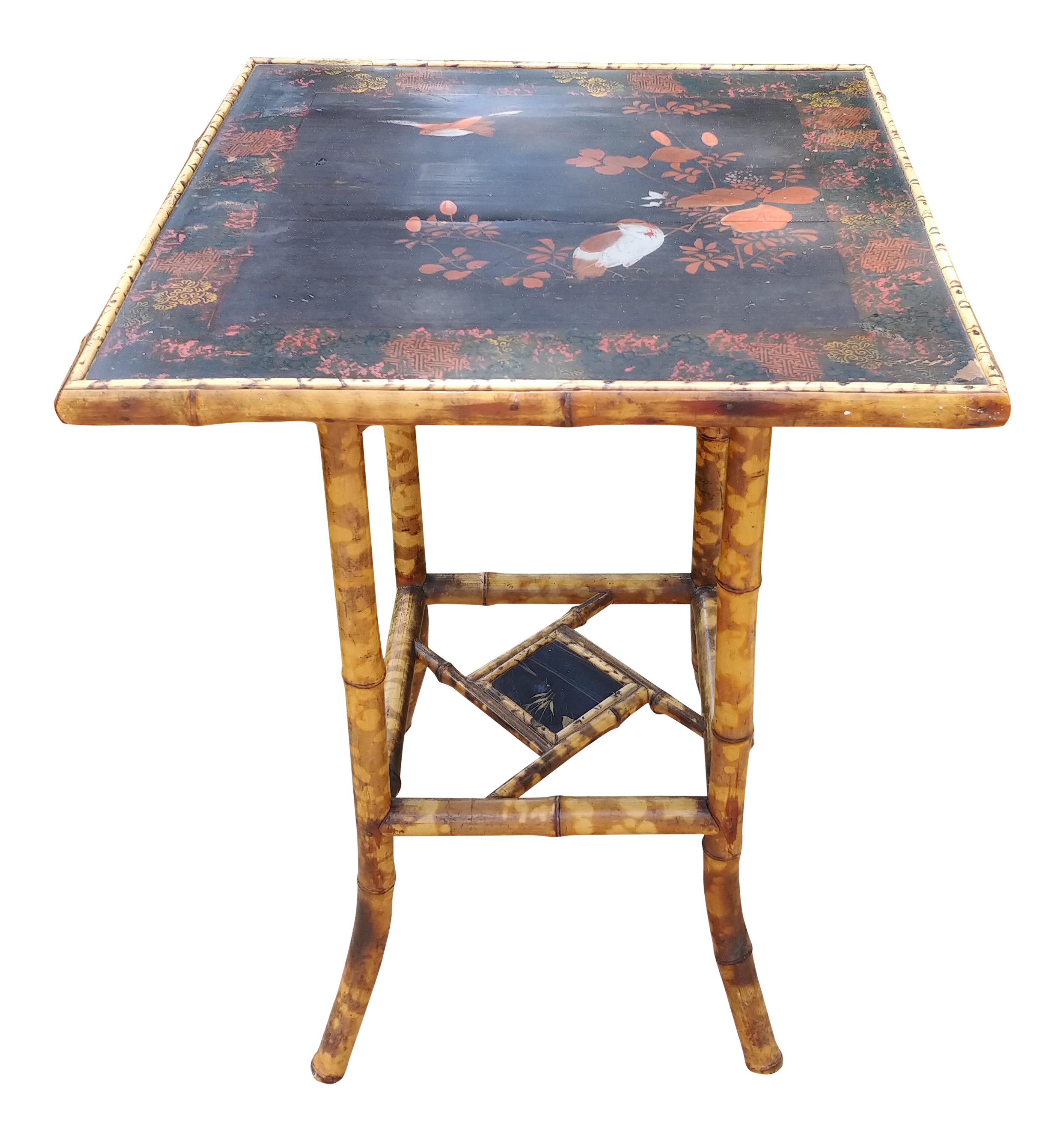 Merveilleux 19th Century Art Nouveau Handpainted Bamboo Side Table