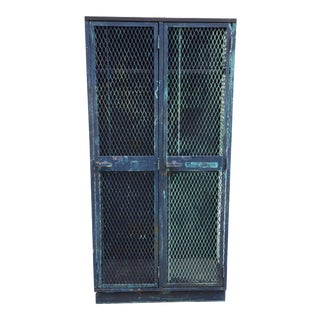 1970s Industrial DeBourgh Mfg Blue Steel Locker