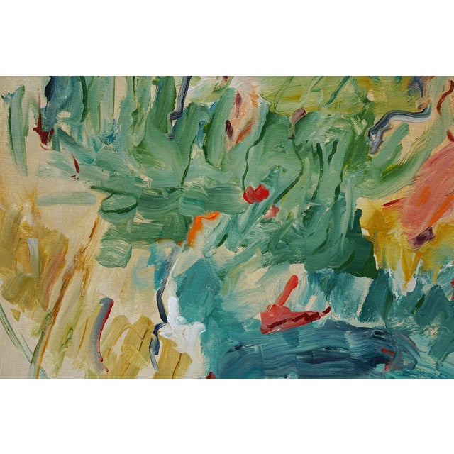 """Laurie MacMillan """"Picnic"""" Abstract Acrylic Painting by Laurie MacMillan, Framed For Sale - Image 4 of 6"""