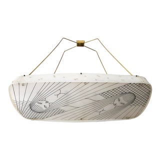 Beautiful Midcentury Chandelier With Handmade Shades For Sale