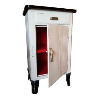 Vintage Enamel-Topped Metal Cabinet For Sale