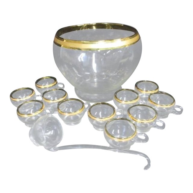 Dorothy Thorpe Style Gold Glass Punch Bowl Set For Sale