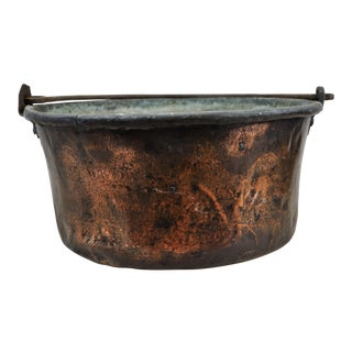 Antique Rustic Copper Bowl For Sale